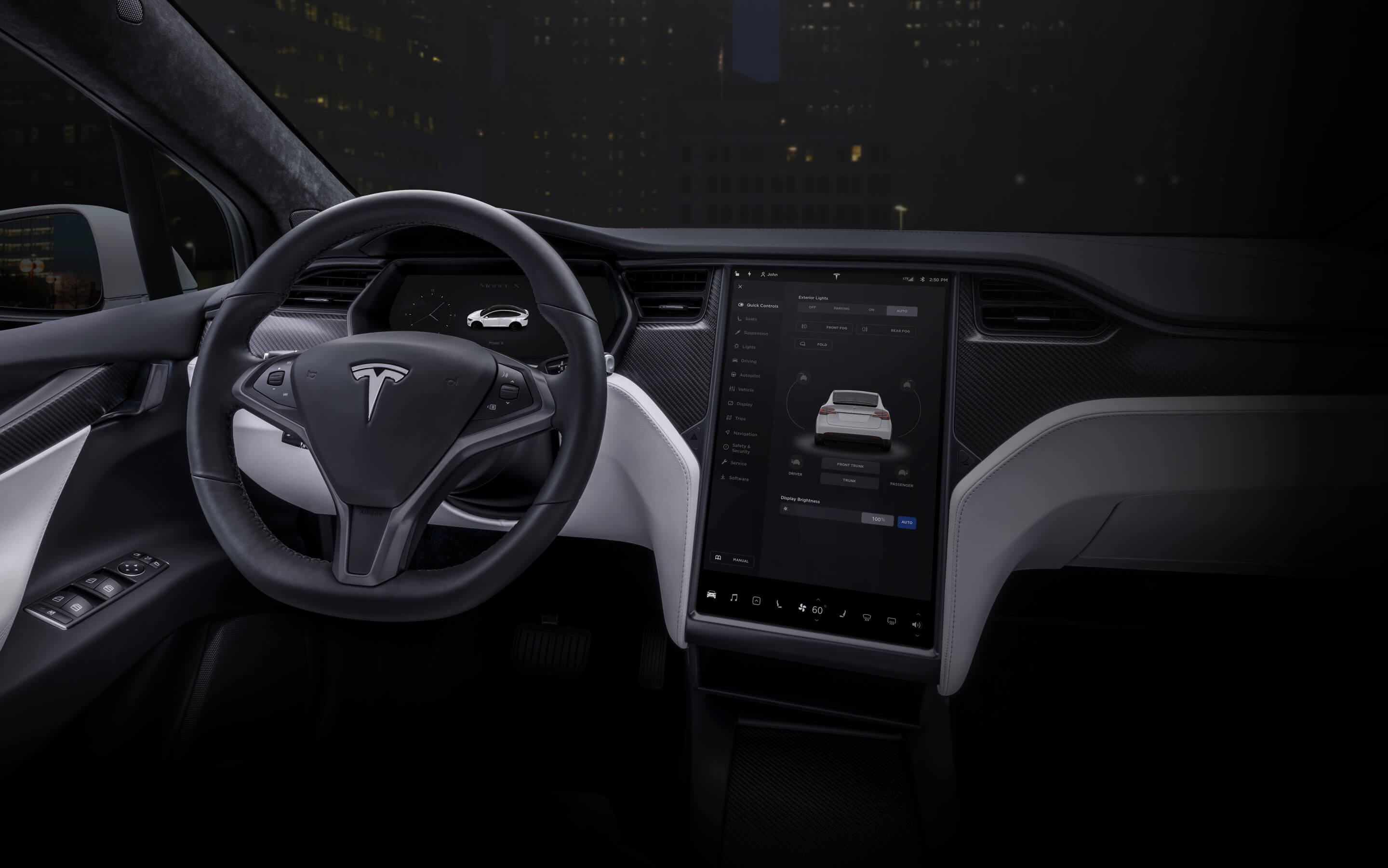 """White Model X interior with 17"""" touchscreen and steering wheel"""