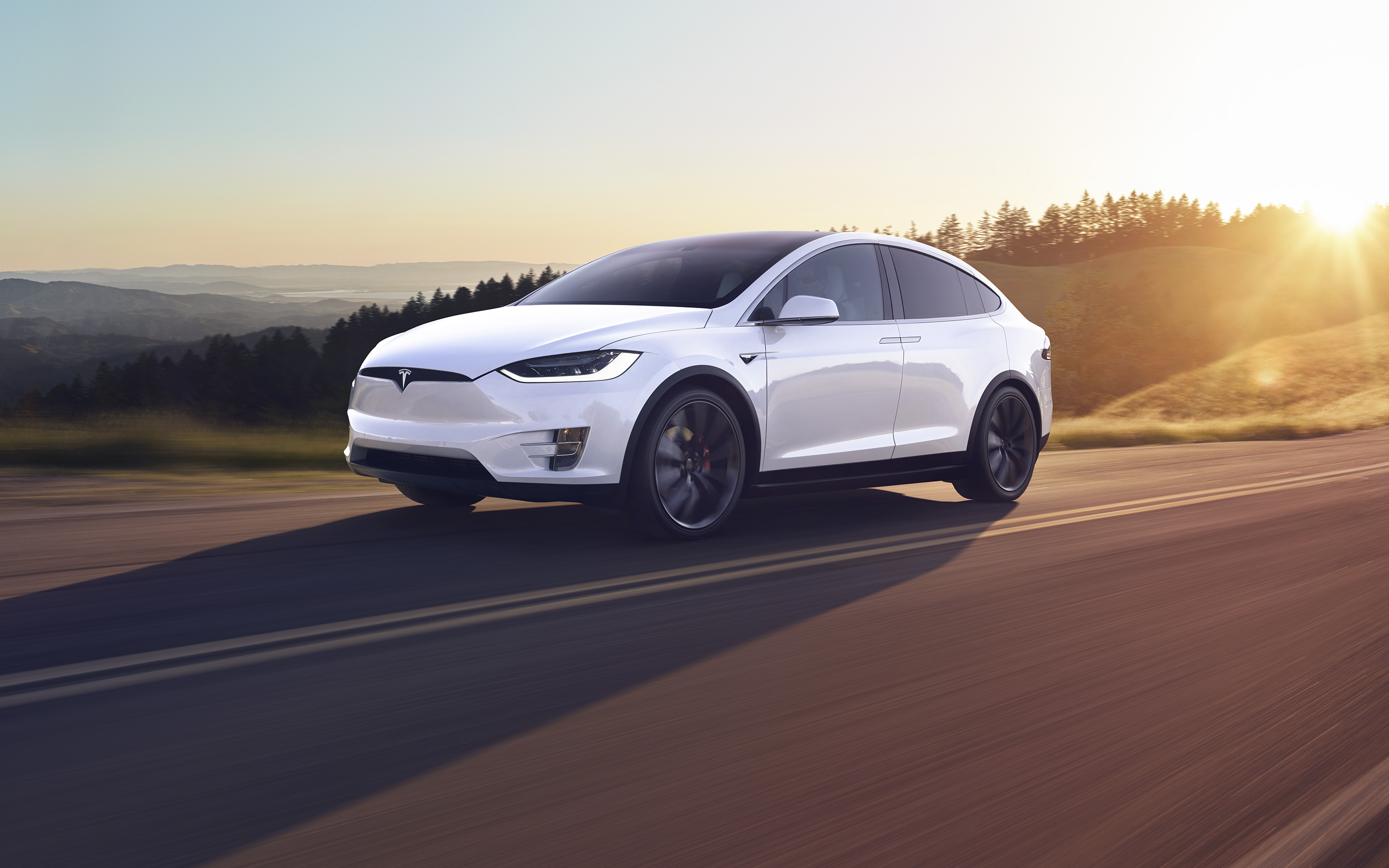 Pearl white Model X driving on a hillside highway during sunset